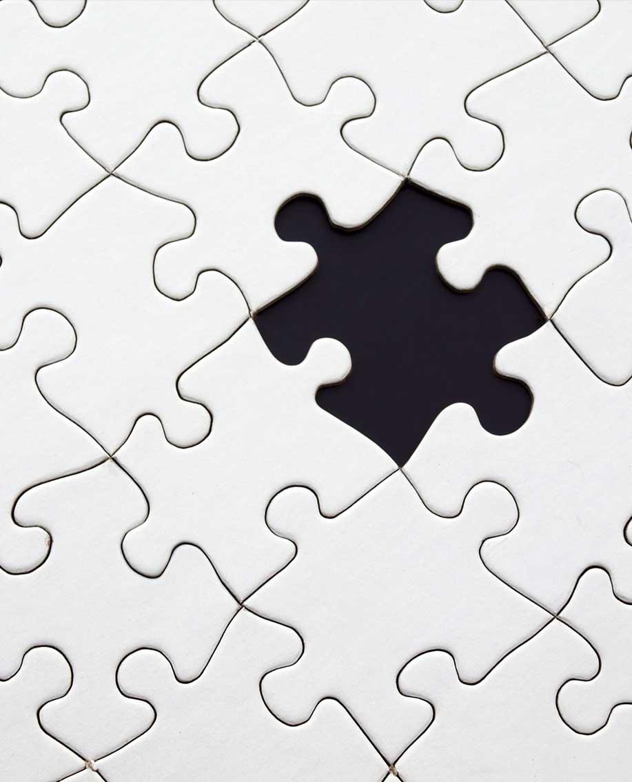 Puzzle mit fehlendem Stück